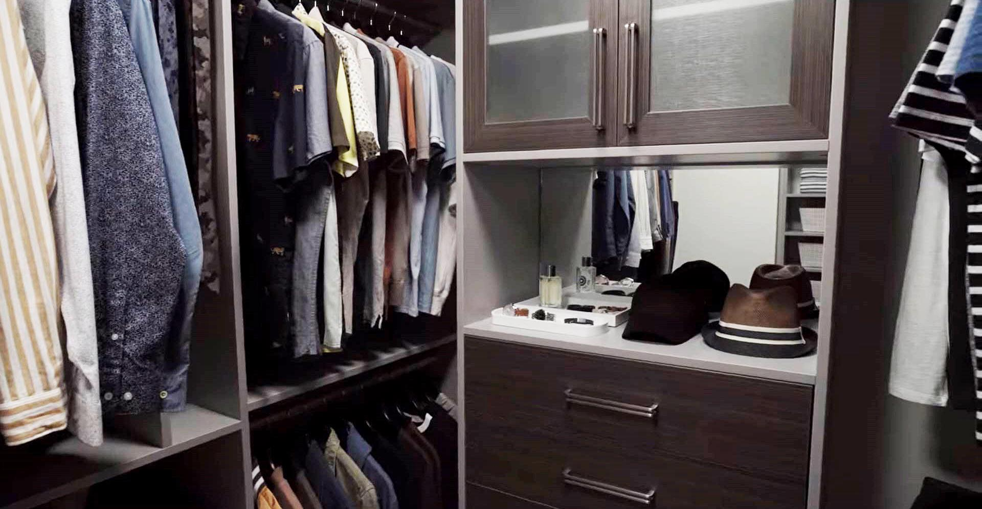 Organized Men's closet design featured on Queer Eye