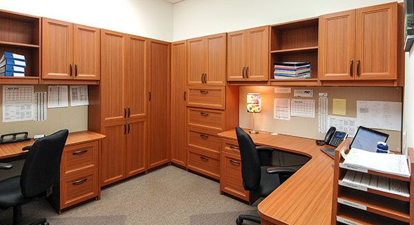 Custom home office with storage bins