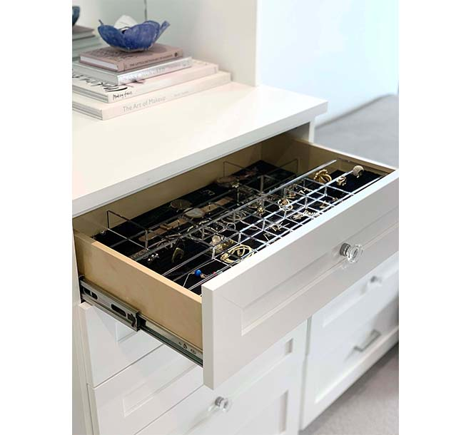 Closet drawer with jewelry inserts organizing accessories collection