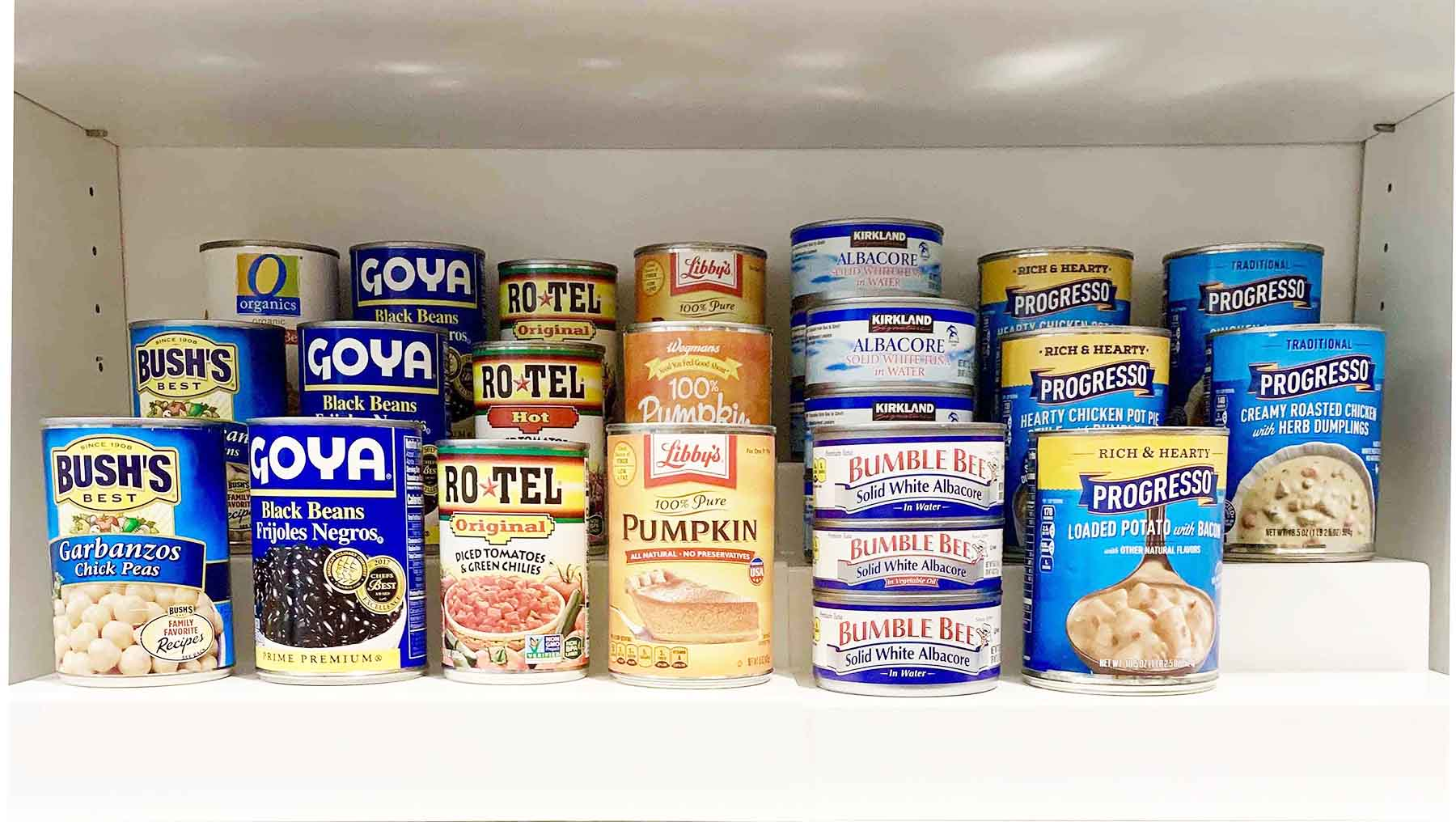 Food pantry items stacked on shelved