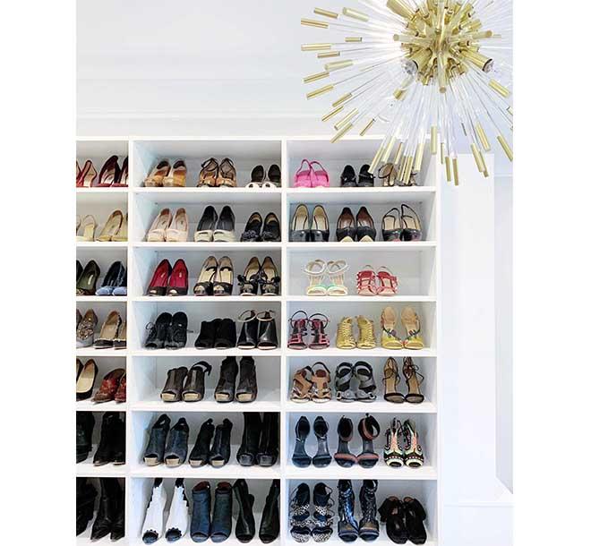 Custom shleving with dress shoes organized