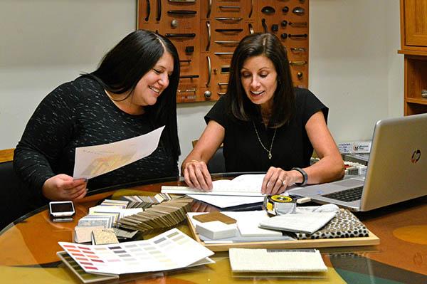 Closet designer working with client
