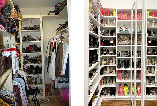Before and after shoe storage photos