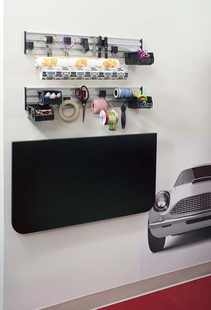 Garage workspace with folding table up and wall system
