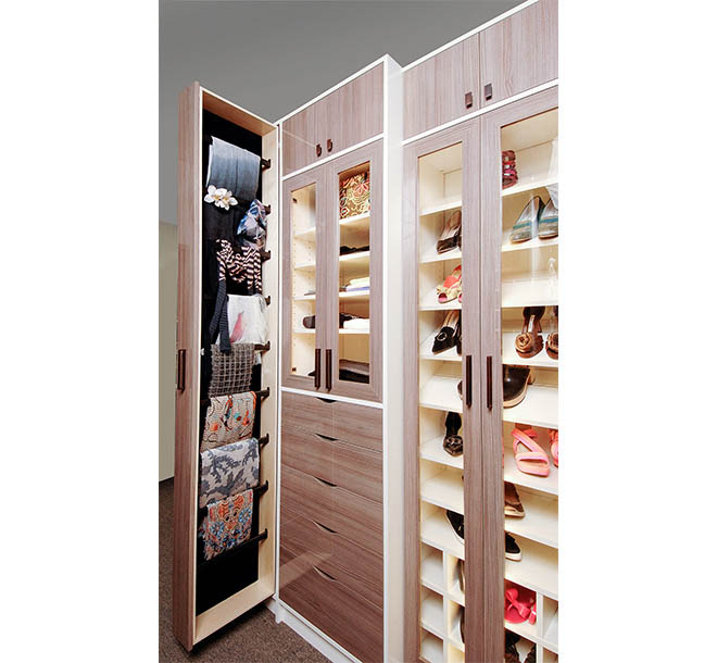 Closet with decorative hardware and vertical slider