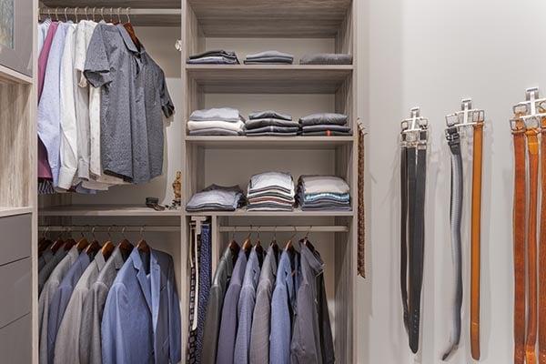 Belt and tie rack in walk in closet