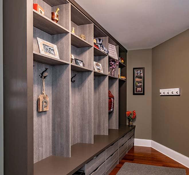 Locker style mudroom neat and organized
