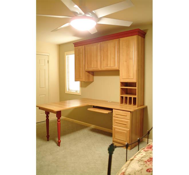 Custom built wood desk unit in home office