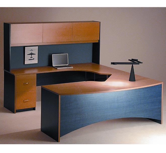 Custom built home office with wraparound desk