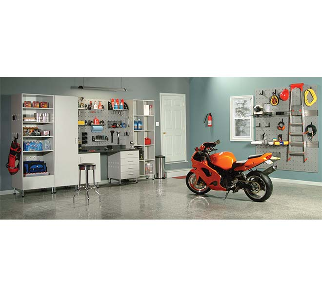 Garage system and cabinets organized with tools and household items