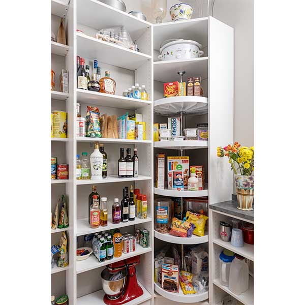 Corner pantry organized with Lazy Susan