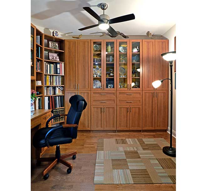 Coordinated and custom built home office furniture pieces