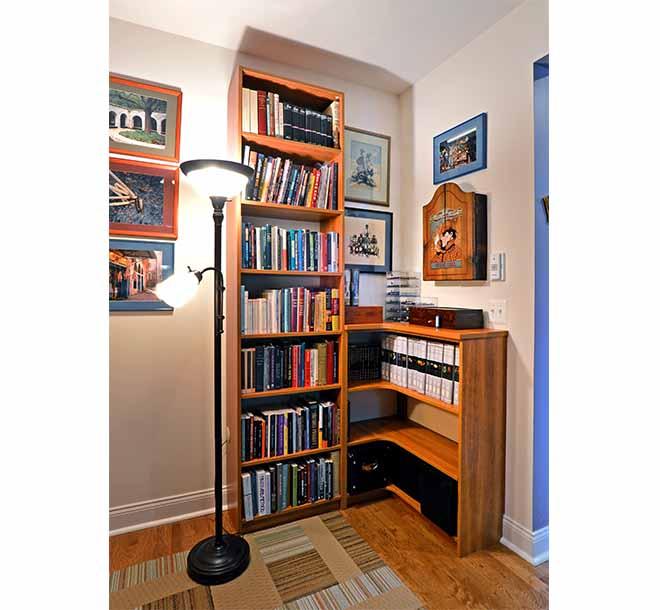 Unique custom office furniture piece with corner shelving