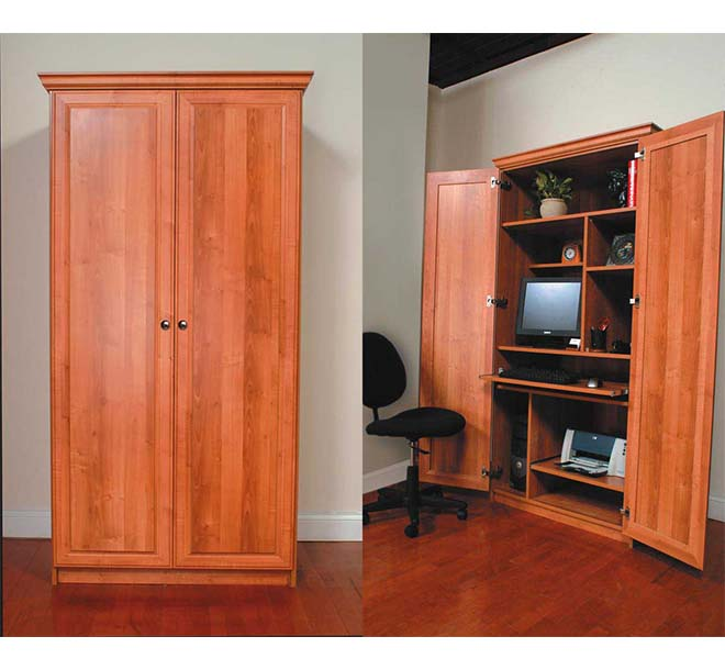 Cabinet with bi-fold swing doors open into a desk and office workstation area