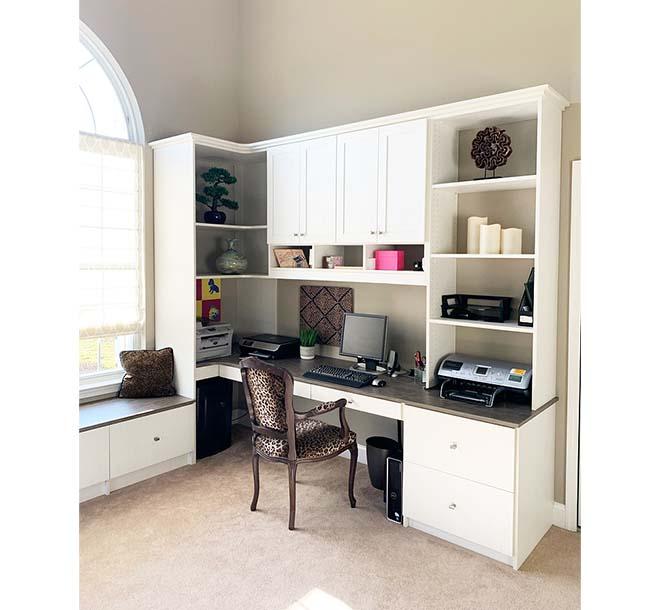Custom home office interior design with corner shelving