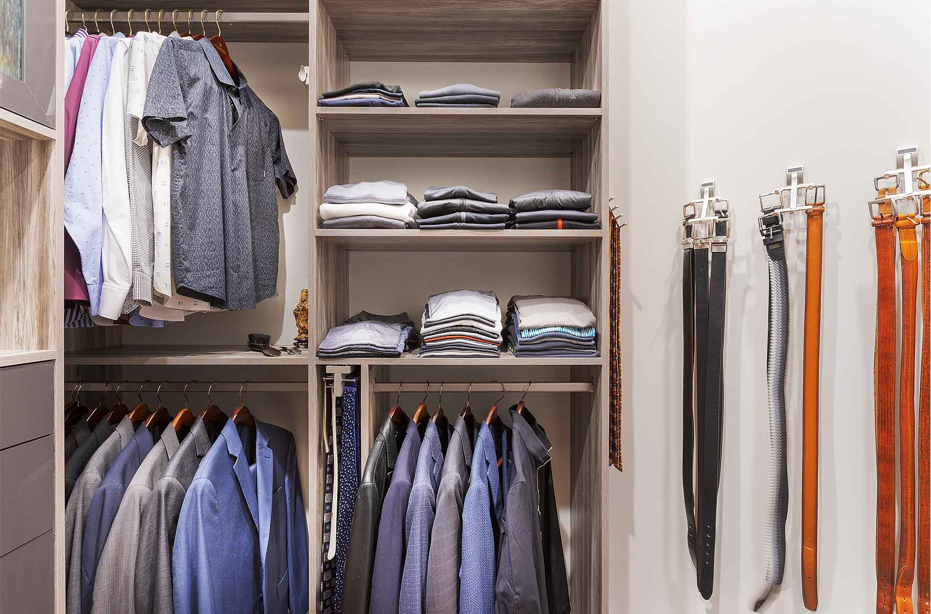 Closet with features organizing clothing and accessories