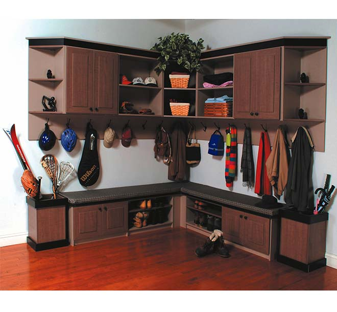 Mudroom with coats and sports gear organized