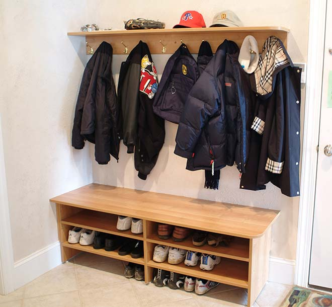 Mudroom with bench and shoe storage