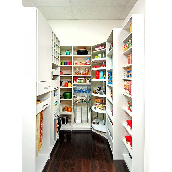 Food items neatly organized on custom pantry shelves