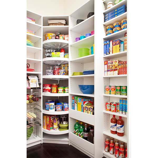 Kitchen pantry with food items organized
