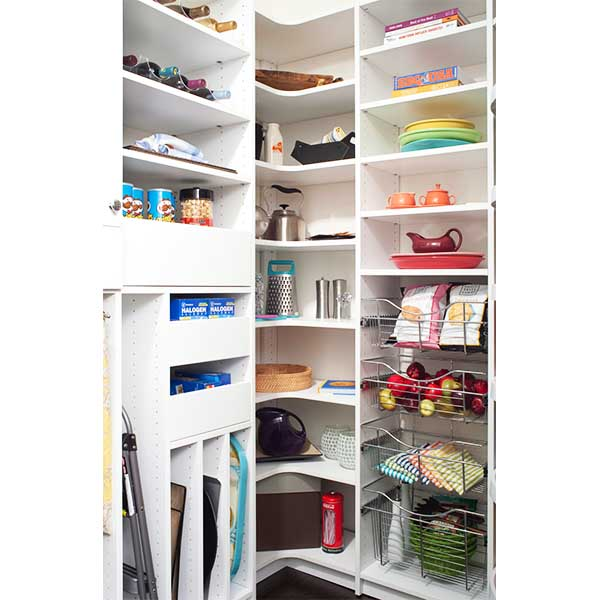 Kitcehn pantry designed with L-shaped corner shelving