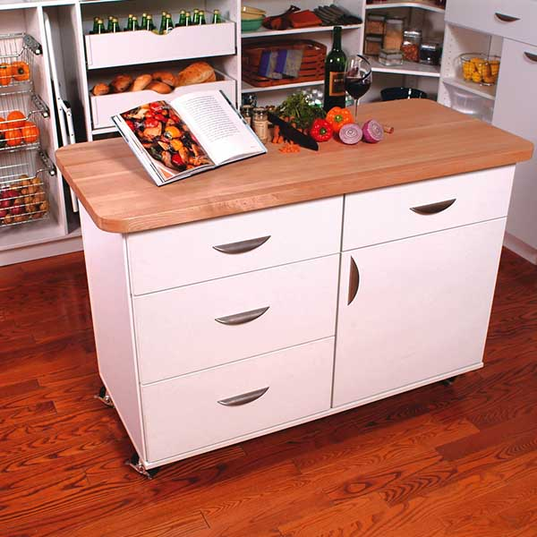 Pantry center island with butcher block and cookbook