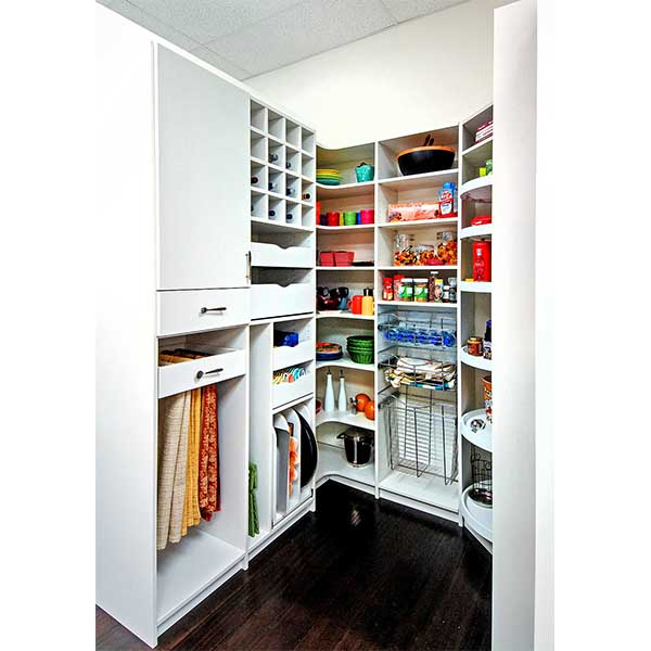 Custom pantry cabinet with wine cubbies and vertical sliders for tray and server storage