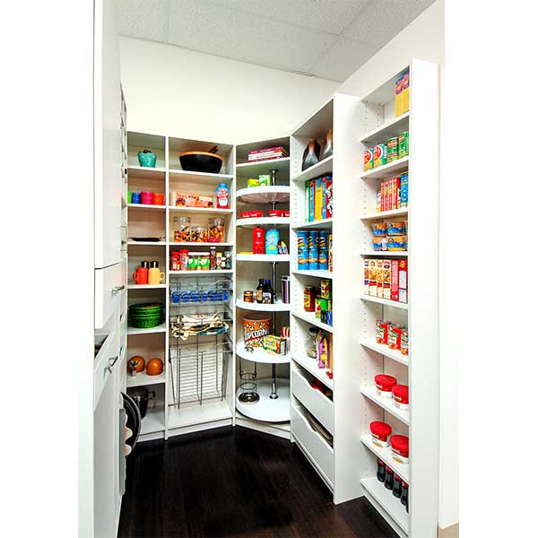 Organized custom built pantry with Lazy Susan