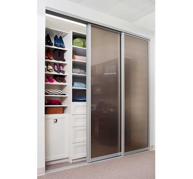 Womens reach in closet with slanted shelves