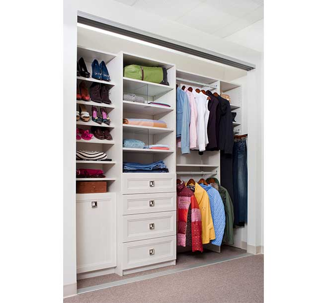 Womens reach in closet storage system with double hanging organizing shirts and coats