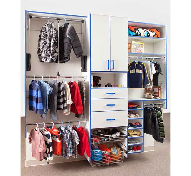 Organized kids reach in closet system with adjustable shelves