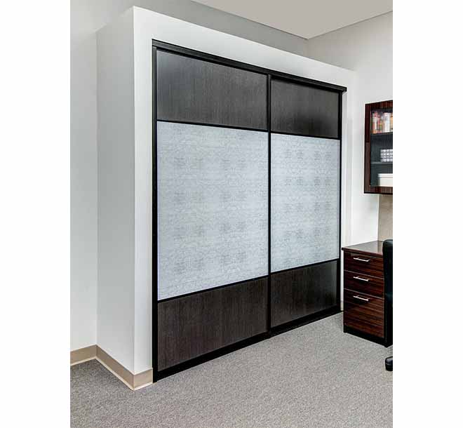 Reach in closet with glass sliding doors