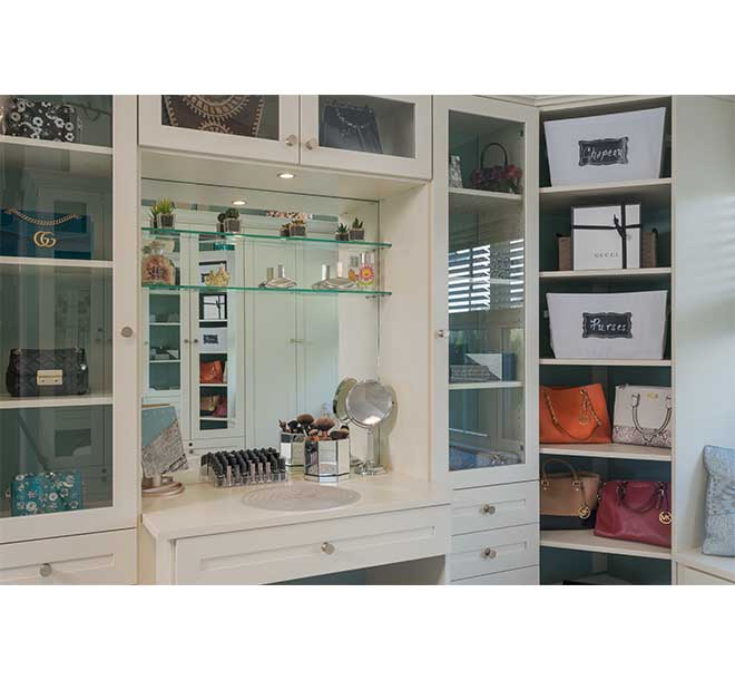 Vanity with large mirror and lighting