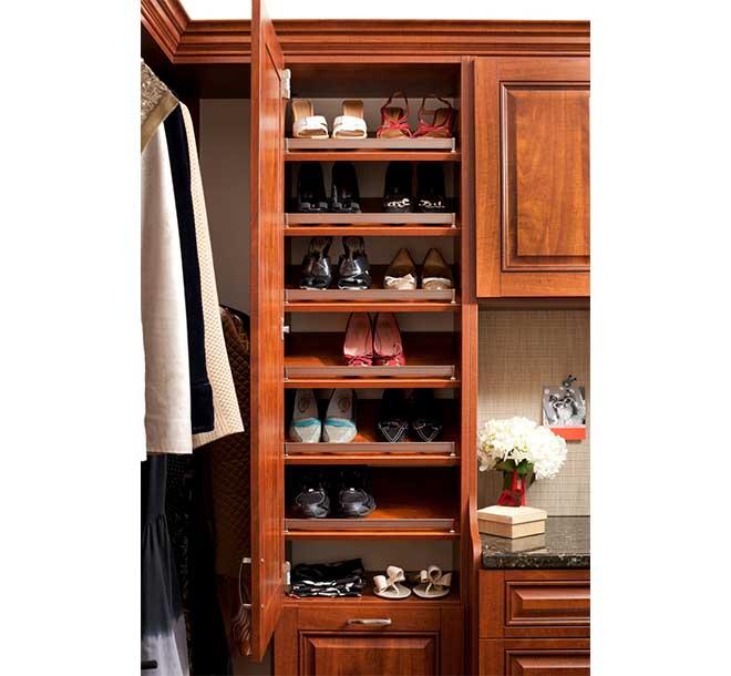 Closet cabinet with slanted shoe shleves and fences