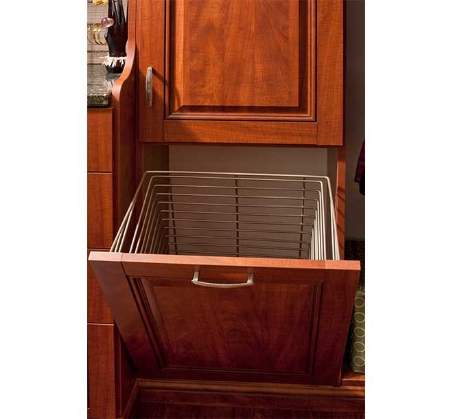 Open closet drawer with removable tilt out hamper