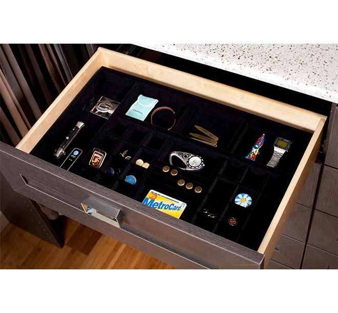 Open closet drawer with velvet jewellery drawer insert