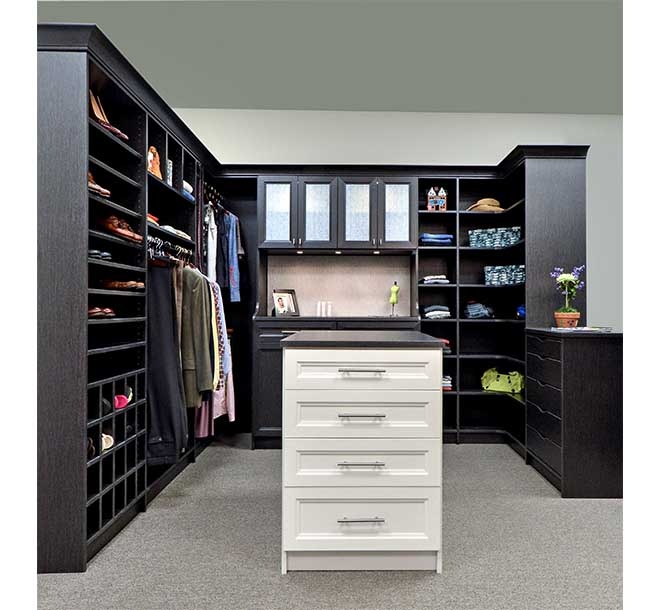 Walk-In closet remodel with center island and contrasting drawer fronts