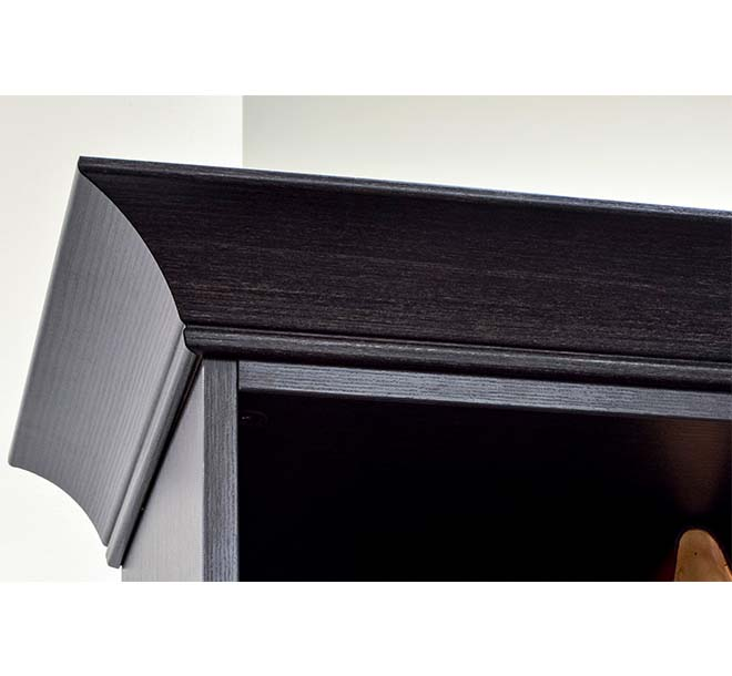 Beautiful crown molding built in on the top of a custom closet furniture piece