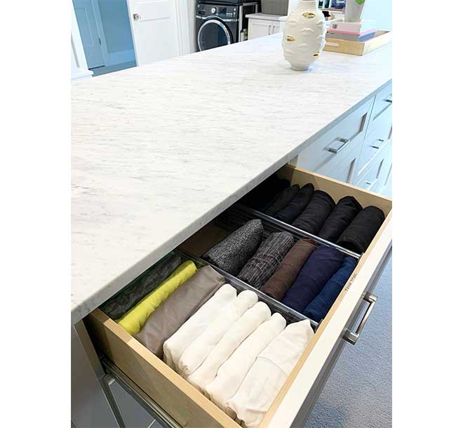 Closet drawer inserts keeping tank tops organized and folded
