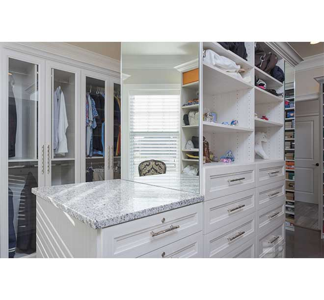 Master closet island with drawers and mirrors