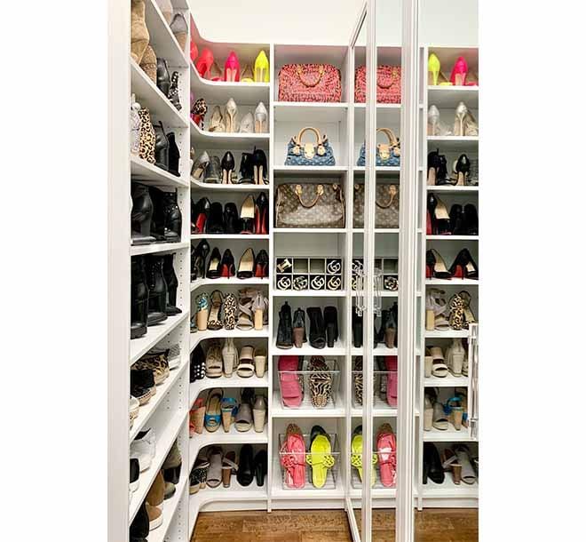 Organized shoe storage on corner shelving