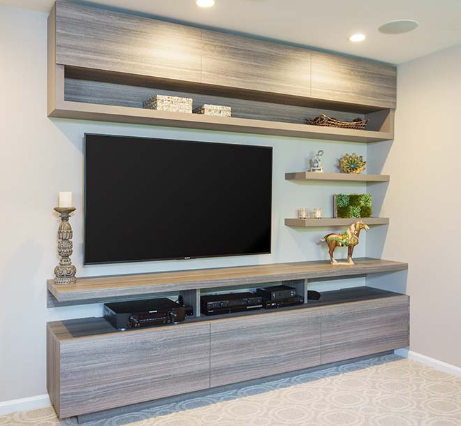 Wall unit with floating shelves and cabinet storage