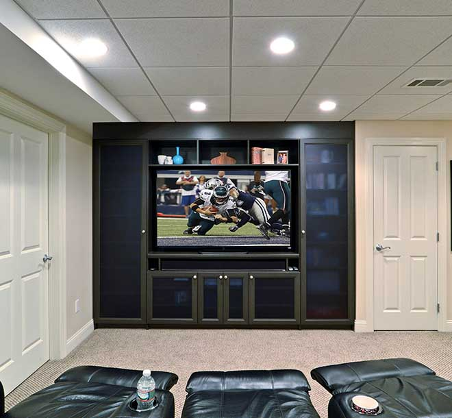 Custom media center design with move style chairs and lighting