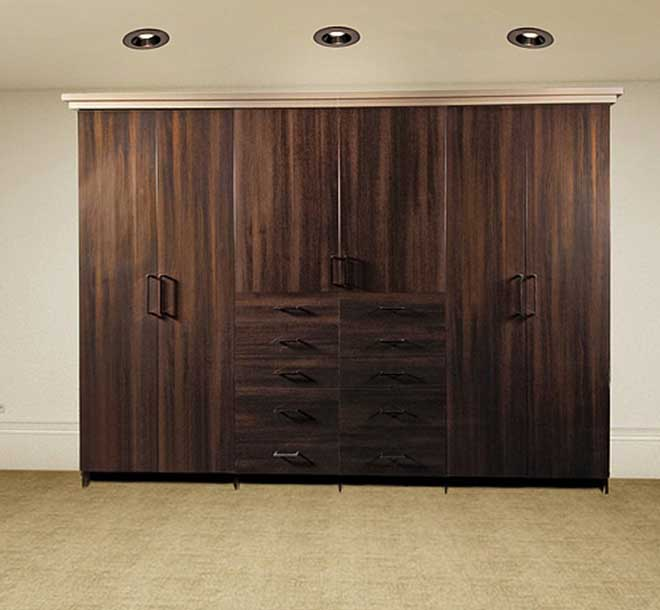 Open room with carpet and built-in custom wardrobe