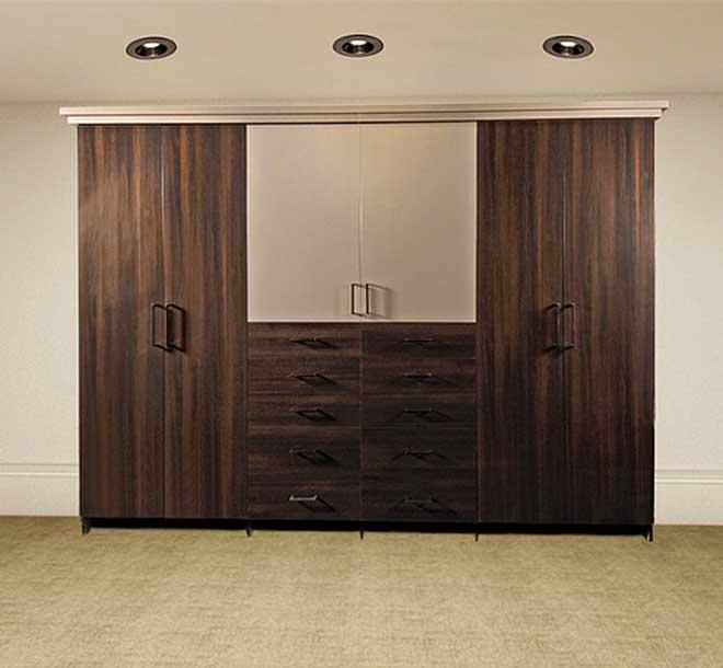Custom wardrobe with different color door panels