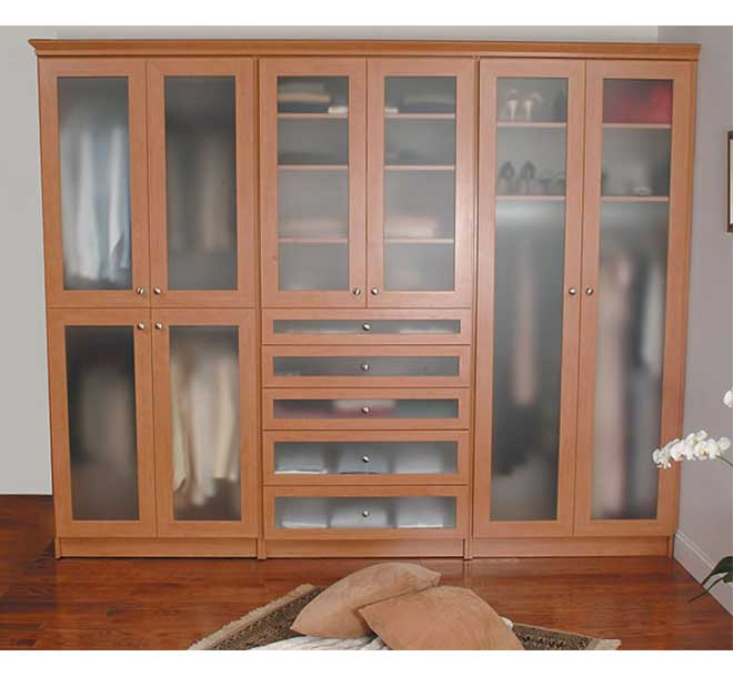 Classic wardrobe closet with frosted glass inserts