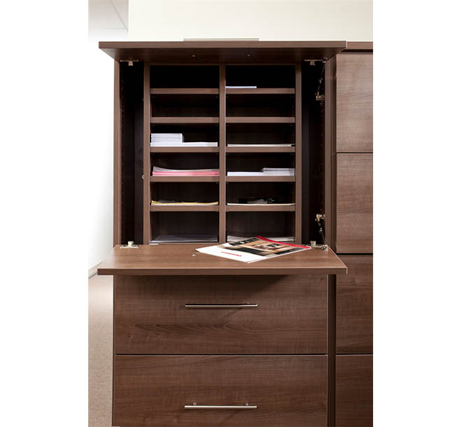 Mail station wth pull down workspace for sorting and organizing