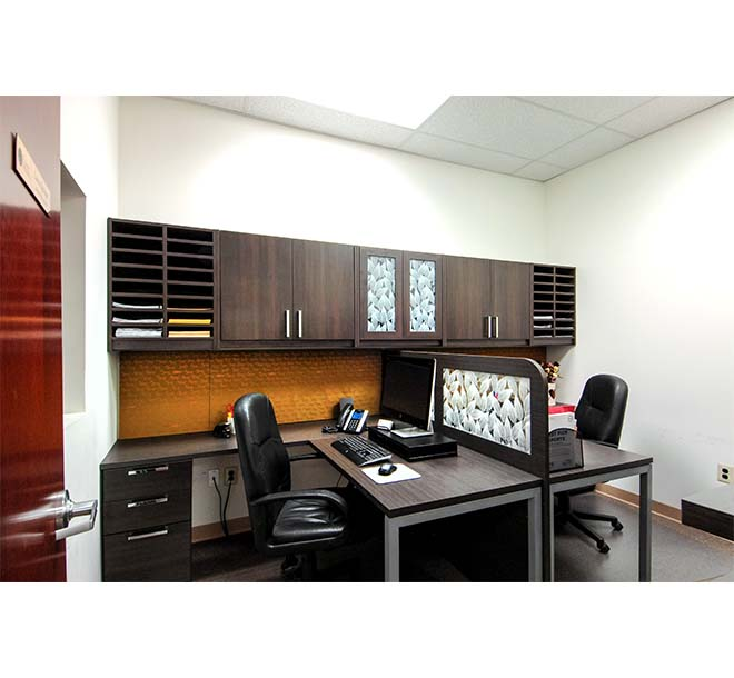 Commercial office for two with custom built laminated glass dividers