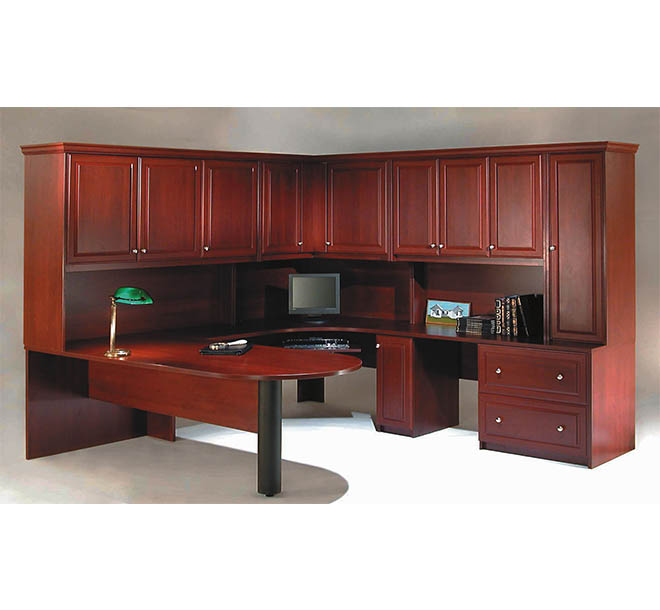 Traditional office space with wraparound workspace and closed cabinet storage