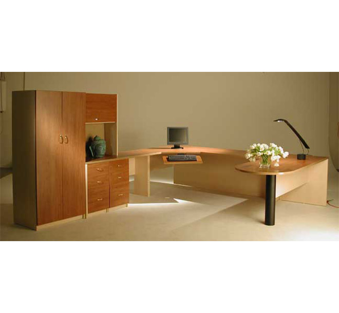 Commercial office with coordinating workspace and cabinet components